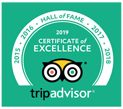 2019 TripAdvisor Certificate of Excellence and Hall of Fame