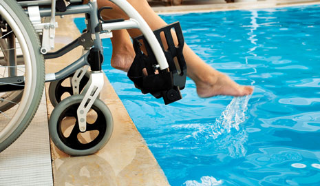 Image of waterpark visitor with special accessibility requirements